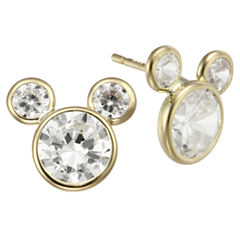Girls Mickey Mouse 10K Gold Cubic Zirconia Stud Earrings