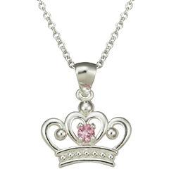 Girls Pink Cubic Zirconia Princess Crown Pendant Necklace
