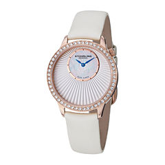 Stührling® Original Womens Crystal-Accent Inset-Dial White Leather Strap Watch