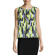 Black Label by Evan-Picone Sleeveless Pleat Neck Blouse