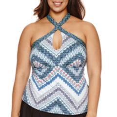 Liz Claiborne Keyhole  Tankini Swimsuit Top-Plus