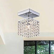 Warehouse Of Tiffany Jhea 1-light Crystal 5-inch Chrome Chandelier