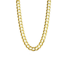 14K Yellow Gold 7MM Curb Necklace 24