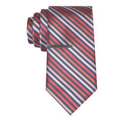J.Ferrar Thin Multi Stripe Tie With Tie Bar