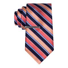 J.Ferrar Navy Ground Stripe Tie With Tie Bar