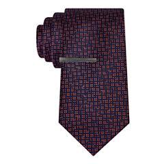 J.Ferrar Navy Ground Abstract Tie With Tie Bar