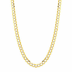 14K Two Tone 5.7MM Pave Diamond Cut Curb Necklace 24