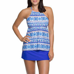 Aqua Couture Moroccan Halterkini or Solid Swim Skirt