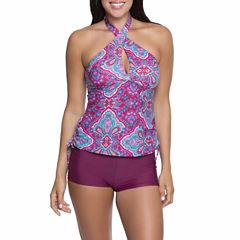 Aqua Couture Wine Halterkini or Solid Swim Skirt