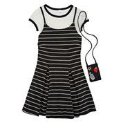 Knit Works Sleeveless Black White Stripe Slip Dress
