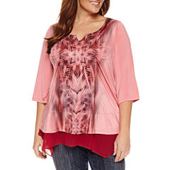 Unity World Wear 3/4 Sleeve Chiffon  Layered Top Plus