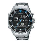 Pulsar® Mens Black Analog/Digital Chronograph Watch