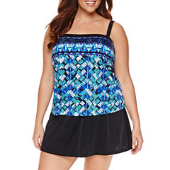 Le Cove Geometric Swim Dress - Plus