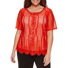Worthington® Short Sleeve Lace Shell - Plus