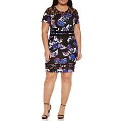 Belle + Sky Short Sleeve Lace Bodycon Dress-Plus