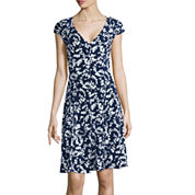 London Times Cap-Sleeve Floral Print A-Line Dress