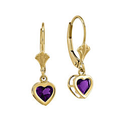 Genuine Amethyst 14K Yellow Gold Heart-Shaped Earrings