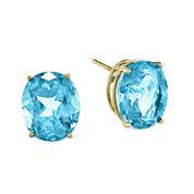 Genuine Swiss Blue Topaz 14K Yellow Gold Oval Earrings