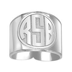 Personalized Circle Block Monogram Ring