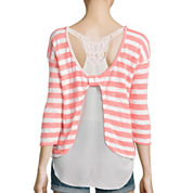 Almost Famous 3/4-Sleeve Layered Lace-Back Striped Knit Top - Juniors