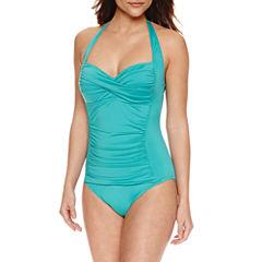 Liz Claiborne Solid One Piece Swimsuit
