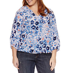 Liz Claiborne 3/4 Sleeve Peasant Top Plus