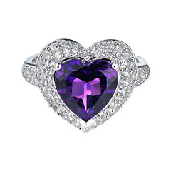 Lab-Created Amethyst & White Sapphire Heart Ring