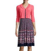Danny & Nicole® 3/4-Sleeve Print Jacket Dress
