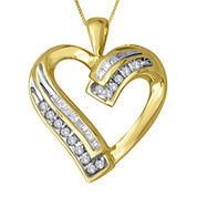 1/5 CT. T.W. Diamond 10K Yellow Gold Heart Pendant Necklace