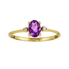 Genuine Purple Amethyst Diamond-Accent 14K Yellow Gold Ring