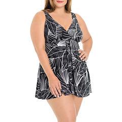 Le Cove Leaf Swim Dress Plus