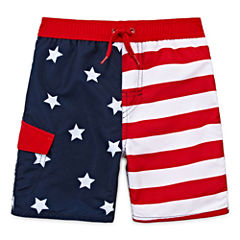 Arizona Boys American Flag Swim Trunks-Toddler