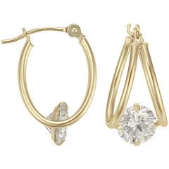 14K Yellow Gold Captured Cubic Zirconia Hoop Earrings