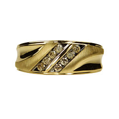Mens 1/3 CT. T.W. Champagne Diamond 10K Yellow Gold Ring