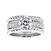 DiamonArt® Cubic Zirconia Sterling Silver Rope Ring