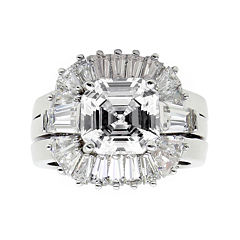 DiamonArt® Cubic Zirconia Sterling Silver Starburst Bridal Ring Set