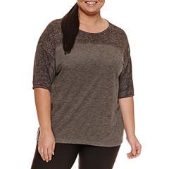 Xersion Short Sleeve Boat Neck T-Shirt-Plus