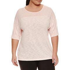 Xersion Short Sleeve Boat Neck T-Shirt-Womens Plus
