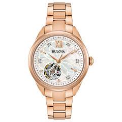 Bulova Womens Rose Goldtone Bracelet Watch-97p121