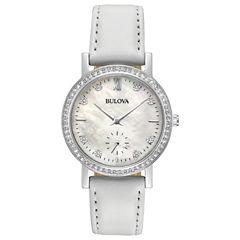 Bulova Womens White Strap Watch-96l245