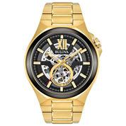 Bulova Mens Gold Tone Bracelet Watch-98a178