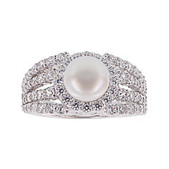 Diamonart® Cultured Freshwater Pearl and Cubic Zirconia Multi-Row Sterling Silver Ring