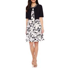Perceptions Elbow Sleeve Puff Print Jacket Dress-Petites