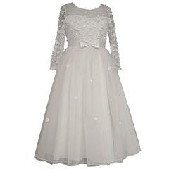 Bonnie Jean Long Sleeve Illusion Bodice and Embroidered Flowers Communion Dress- Girls' 7-12
