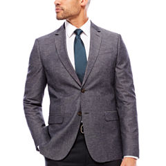 JF J. Ferrar Gray Chambray Sport Coat-Slim