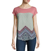 Rewind Short Sleeve Printed Knit-To-Woven Top - Juniors
