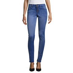 Almost Famous 5Btn Exposed High Waist Berry Skinny Jeans-Juniors