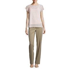 Liz Claiborne Short Sleeve 3D Floral Blouse and Audra Straight Leg Pants