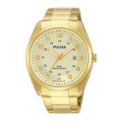 Pulsar® Mens Gold-Tone Stainless Steel Watch PH9072