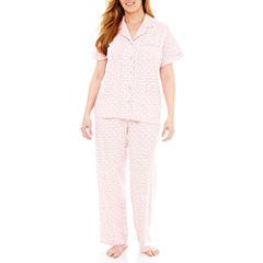 Liz Claiborne® Short-Sleeve Shirt and Pants Knit Pajama Set - Plus